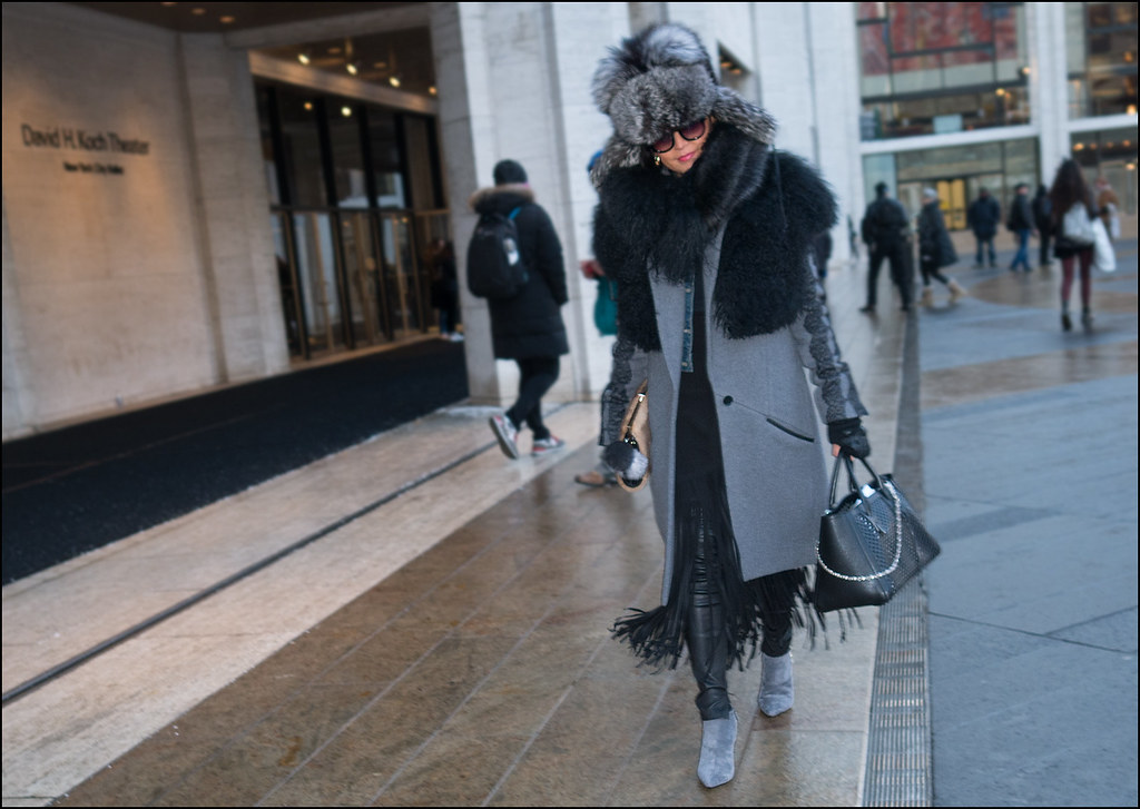 FW2-15  32w grey coat black fur shawl black fur scarf large grey fur hat black long fringe skirt black leather leggings grey mod boots