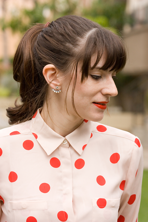 Polka Dot Blouse, Stella and Dot Earrings