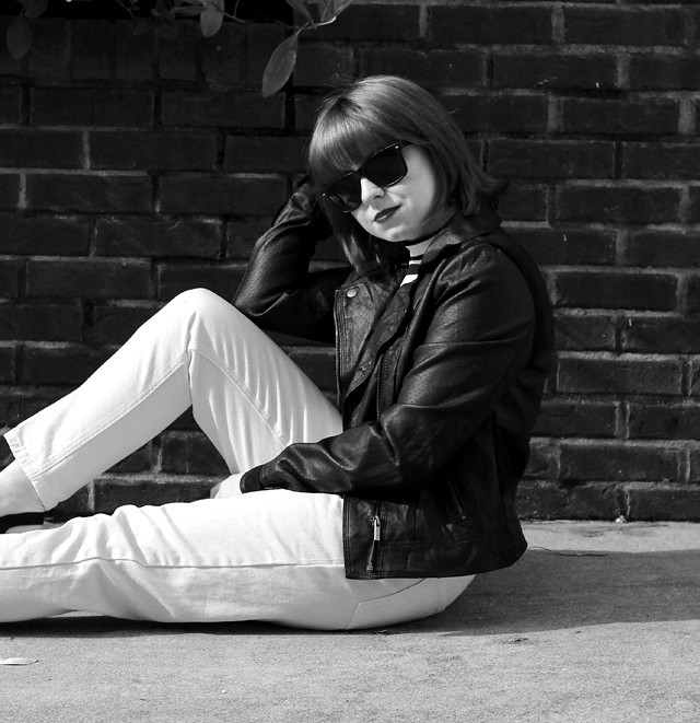 Wayfarer Sunglasses, Leather Jacket, and White Jeans