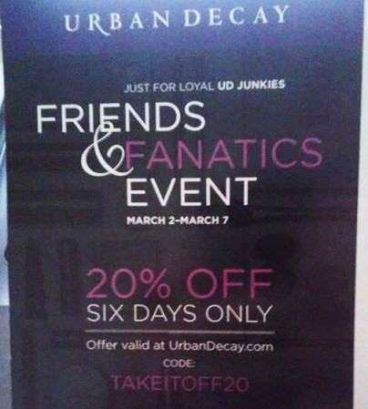 Urban Decay 20 % off sale 20%