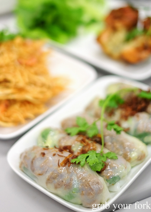 Banh cuon thit nuong grilled pork steamed rice rolls at Banh Cuon Kim Thanh, Bankstown