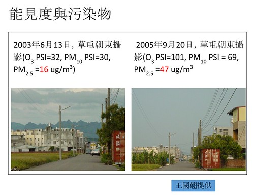 2003年、2005年草屯向東攝影,左圖遠方山脈為九九峰。圖片來源:王國翹
