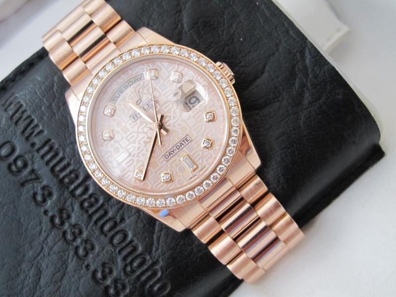 bán đồng hồ rolex day date 118235 – mặt vi tính xoàn – vàng hồng 18k – size 36mm