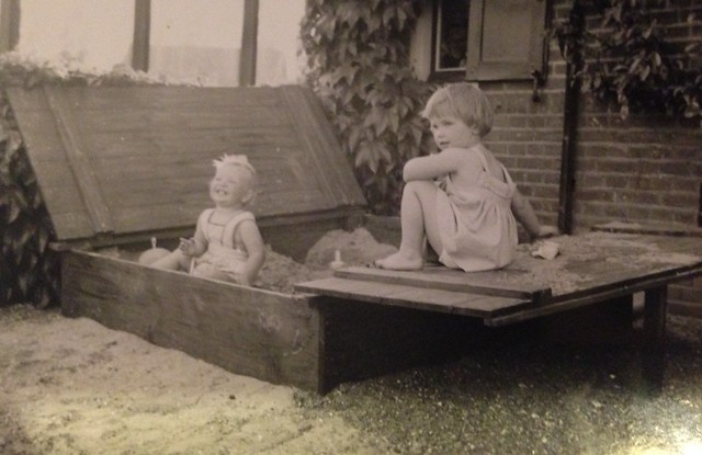 Photo sent to mum from Hannie Paul of daughters playing in the sandbox c early 1960s Netherlands