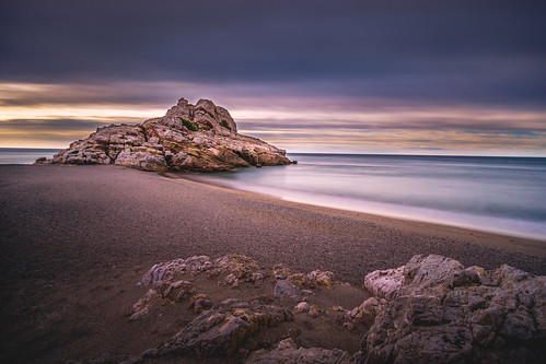 idylic sea defencetower longexposure atmosphere spain platja tranquil rock beach sky clouds colorful lone overcast rocks cliff seascape balearic dreamy dreamscape playa outside coast shore costa a6000 sel1018 costadorada costadaurada water sony lightroom nature seaside landscape goldenhour mediterranean morning hospitalet larojala platjadeltorn vandellòs catalonia catalunya cataluña lhospitaletdelinfant wow