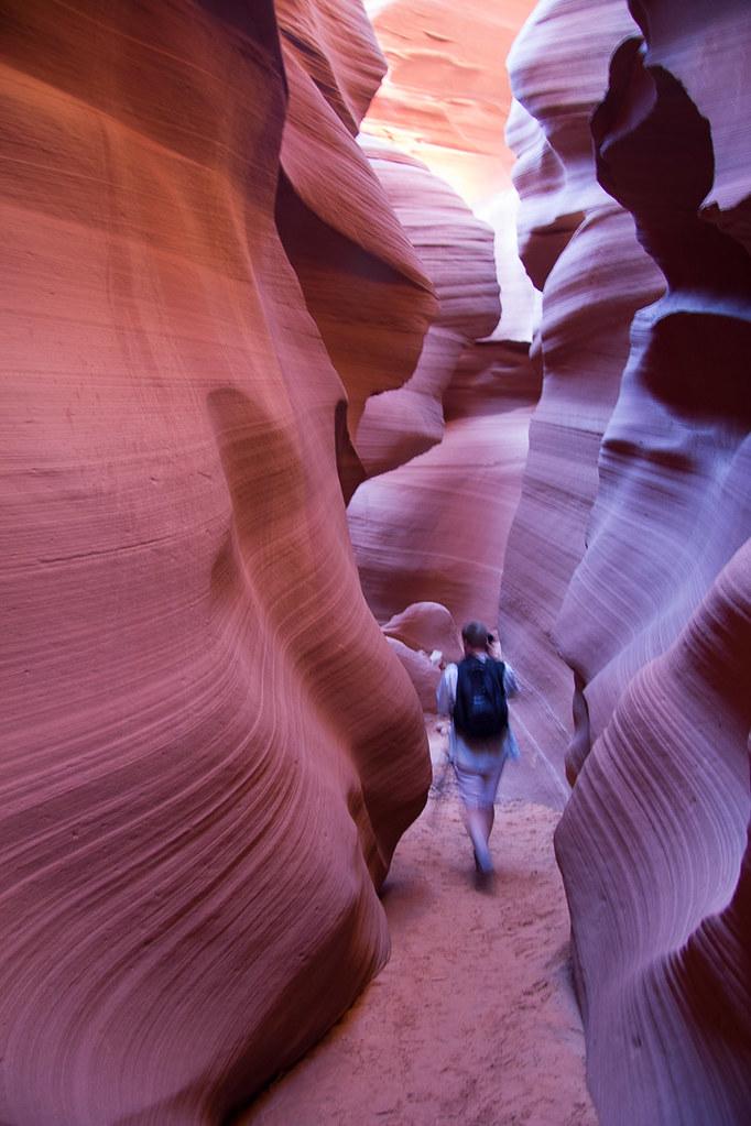 Walking through Lower Antelope Canyon in Page, AZ