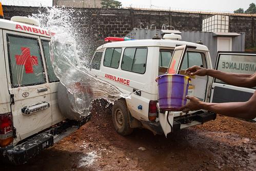 ambulance unitednations redcross disinfection ebolaresponse unmeer unitednationsmissionforebolaemergencyresponse photomartineperret