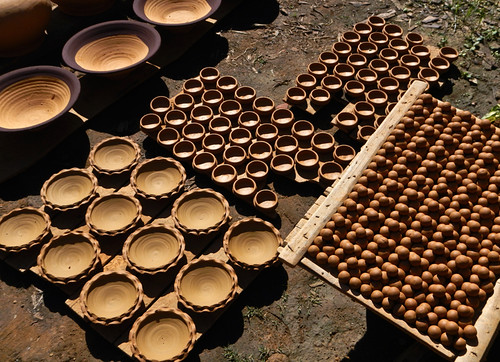 Pots and Balls for Sling Shots at the Inle Lake Pottery Village in Myanmar