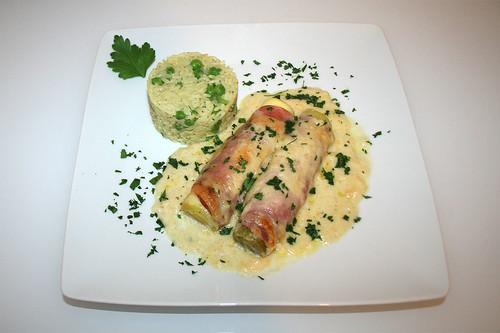 41 - Scalloped leeks with pea rice - served / Überbackene Lauchstangen mit Erbsenreis - Serviert
