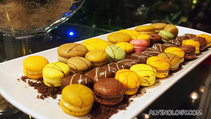 Assorted macarons and chocolates