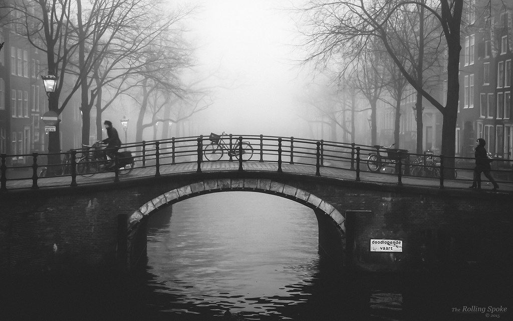 Fog on Amsterdam canal.