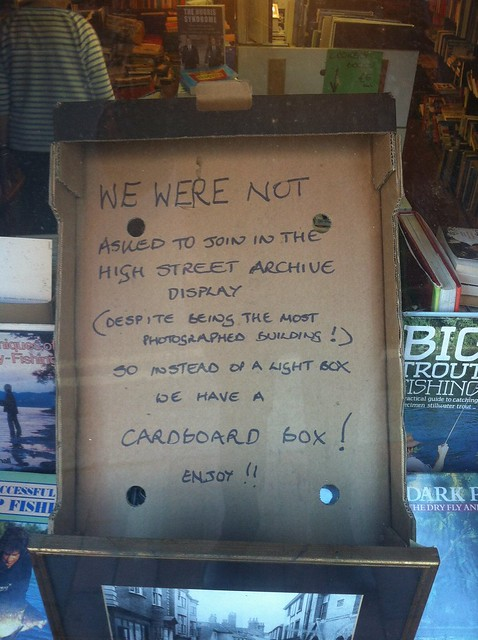 We were not asked to join in the high street archive display (despite being the most photographed building!) so instead of a light box we have a cardboard box! enjoy!!