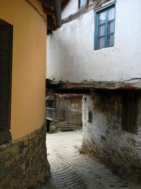 Typical Narrow Road in a Village High Up in the Picos de Europa