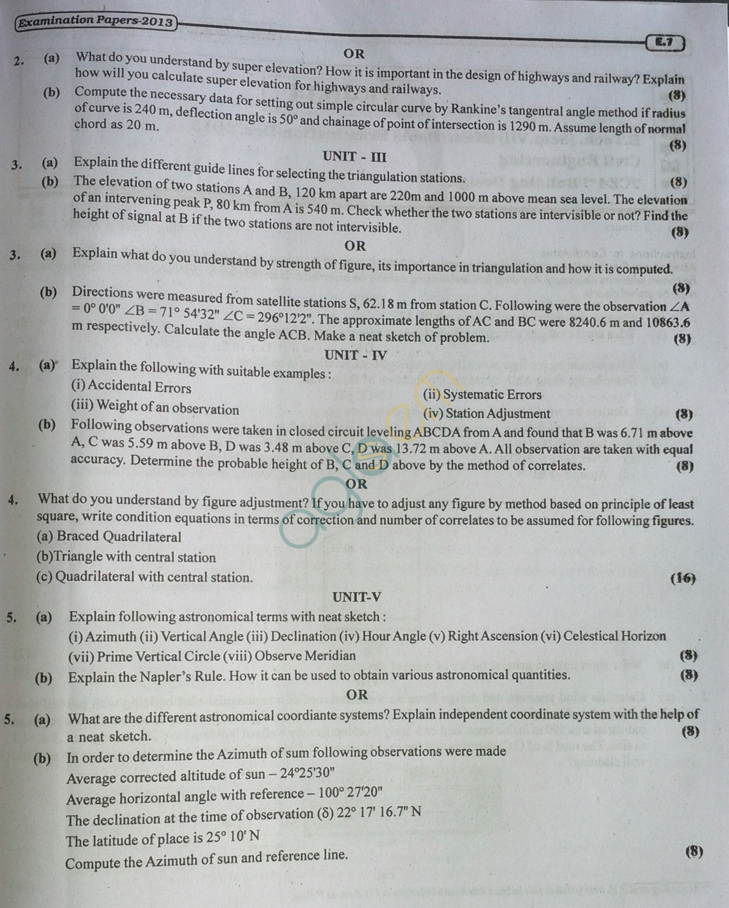 RTU: Question Papers 2013 - 5 Semester - CE - 5E3154