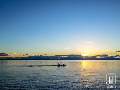 sunset sea landscape view greece thessaloniki kalamaria makedoniathraki
