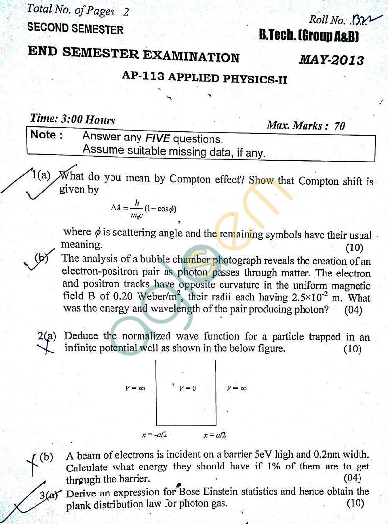 DTU: Question Papers 2013 – 2 Semester - End Sem - AP-113