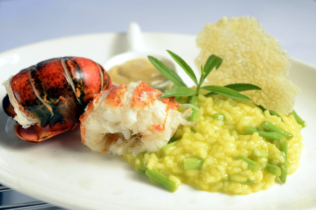 u201CSweetu201D US Maine Lobster Tail on Saffron Risotto   2copy