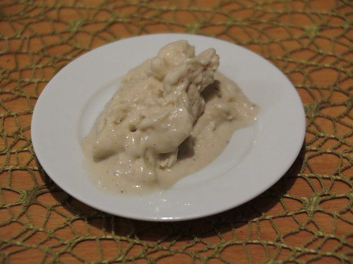 Bananeneiscreme mit weißen Schokostückchen (Probierportion)