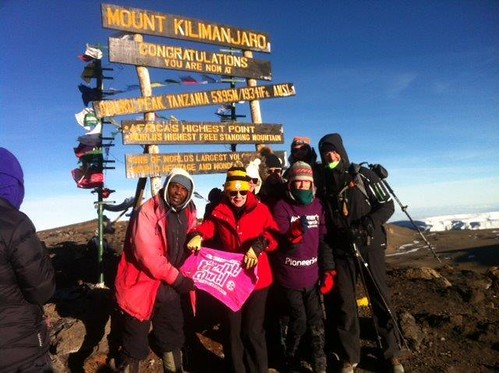 Karen & Rachael on the summit of Kilimanjaro 9th October 2014