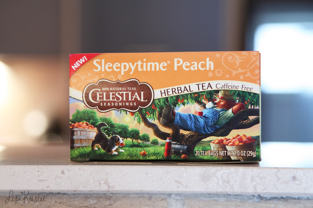 celestial seasonings sleepy time sleepytime peach review taste herbal caffeine free box orange bear dog illustration drawing