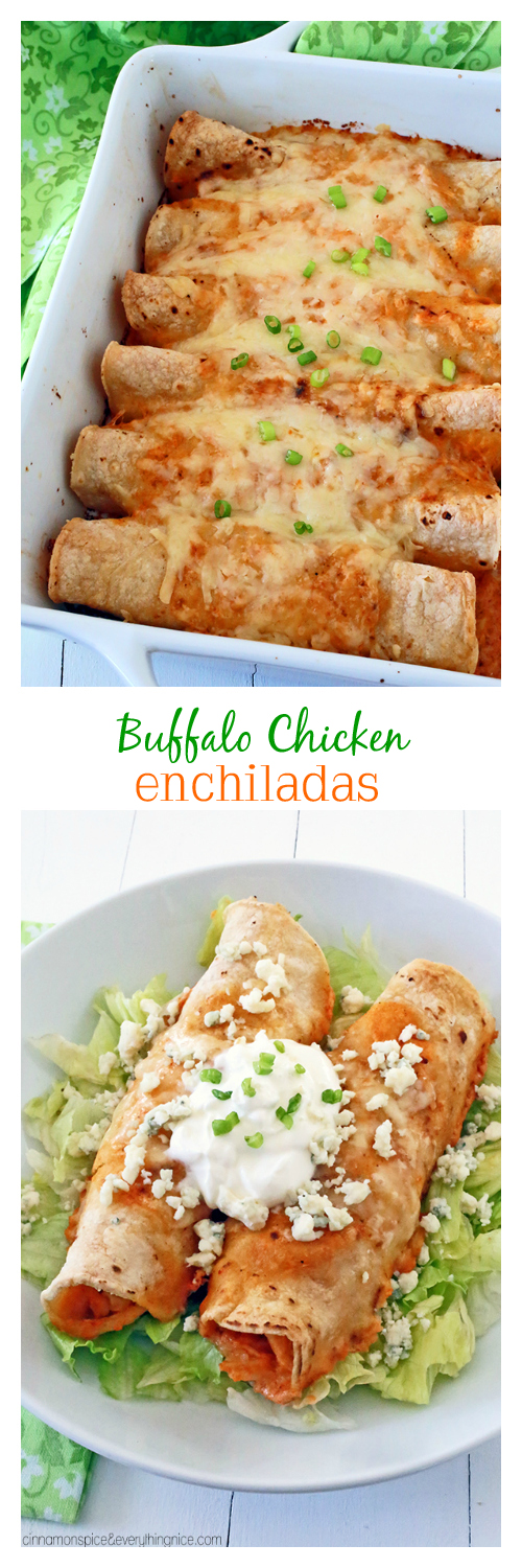 Buffalo Chicken Enchiladas | Crockpot chicken, corn and white cheddar is tucked into corn tortillas and baked in a creamy, red-hot sauce. | cinnamonspiceandeverythingnice.com