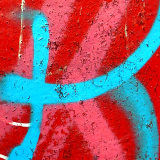 red, blue, pink and rust