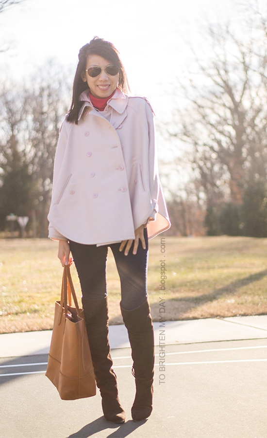 pink trench cape, red turtleneck, brown suede over the knee boots, cognac brown tote