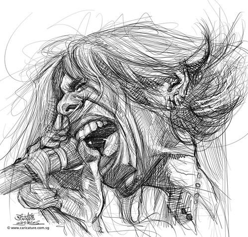 digital caricature sketch of Steven Tyler1