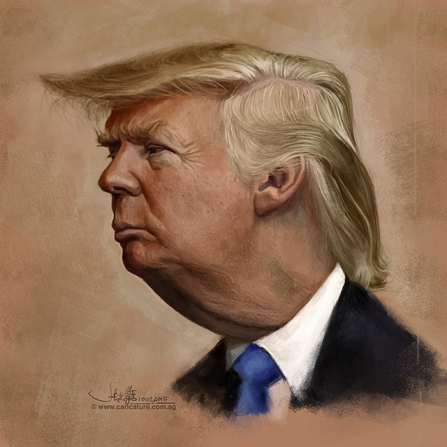 digital caricature sketch of Donald Trump