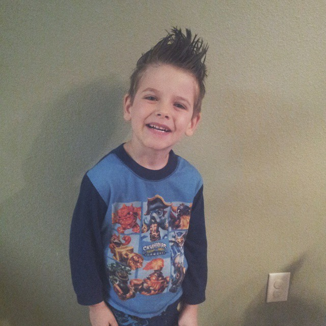 Dr Seuss/crazy hair/PJ day today at school! Special thanks to my friend Kacy, who recommended food dye in hair gel after I wasn't able to make it to the store for colored hair spray. She saved me from mom fail of the century. #mboys2015