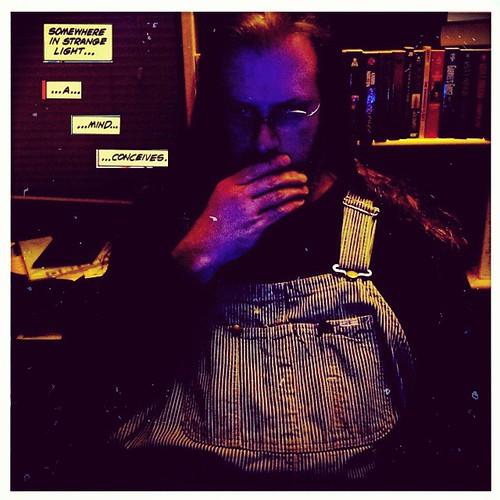 Day 2: Selfie. #takentodaymarch15 #overalls #HickoryStripe #vintage #Lee #comicbookcaption