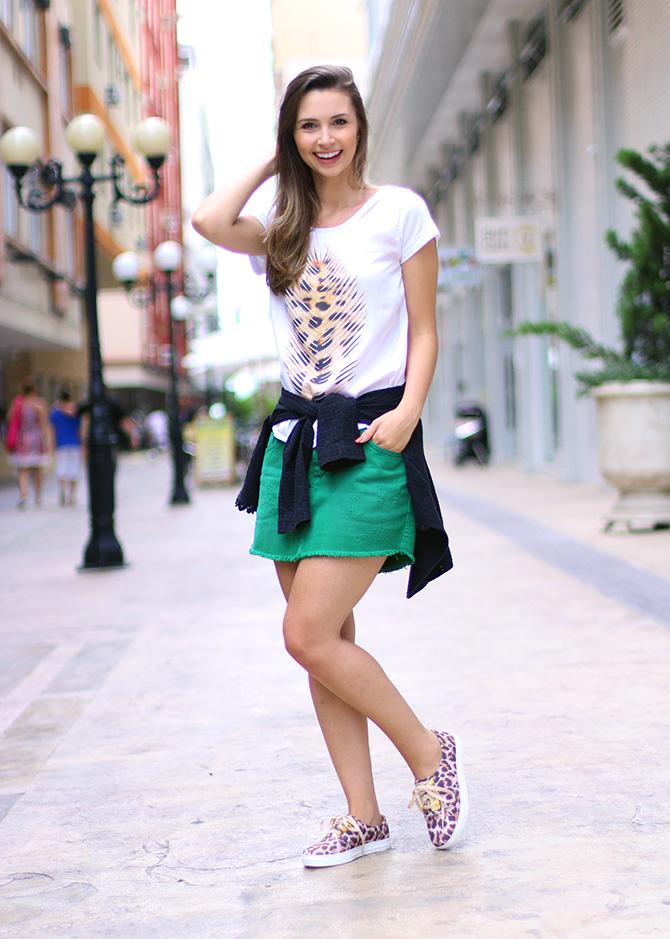 02-look do dia saia e tenis de oncinha petite jolie blog sempre glamour