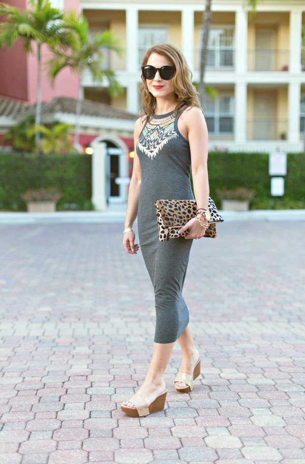 Easy dress + leopard print clutch + platform slides