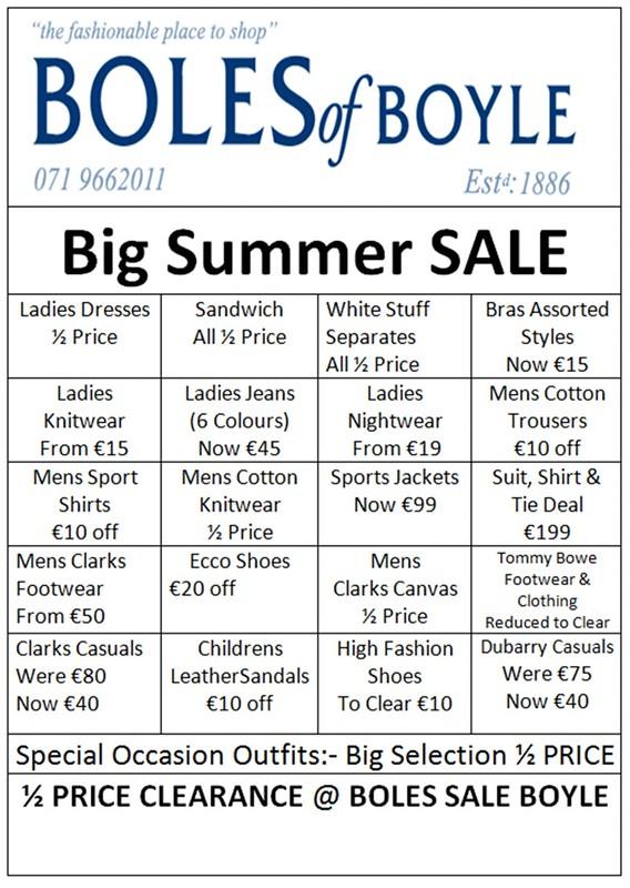 Boles Summer Sale Items