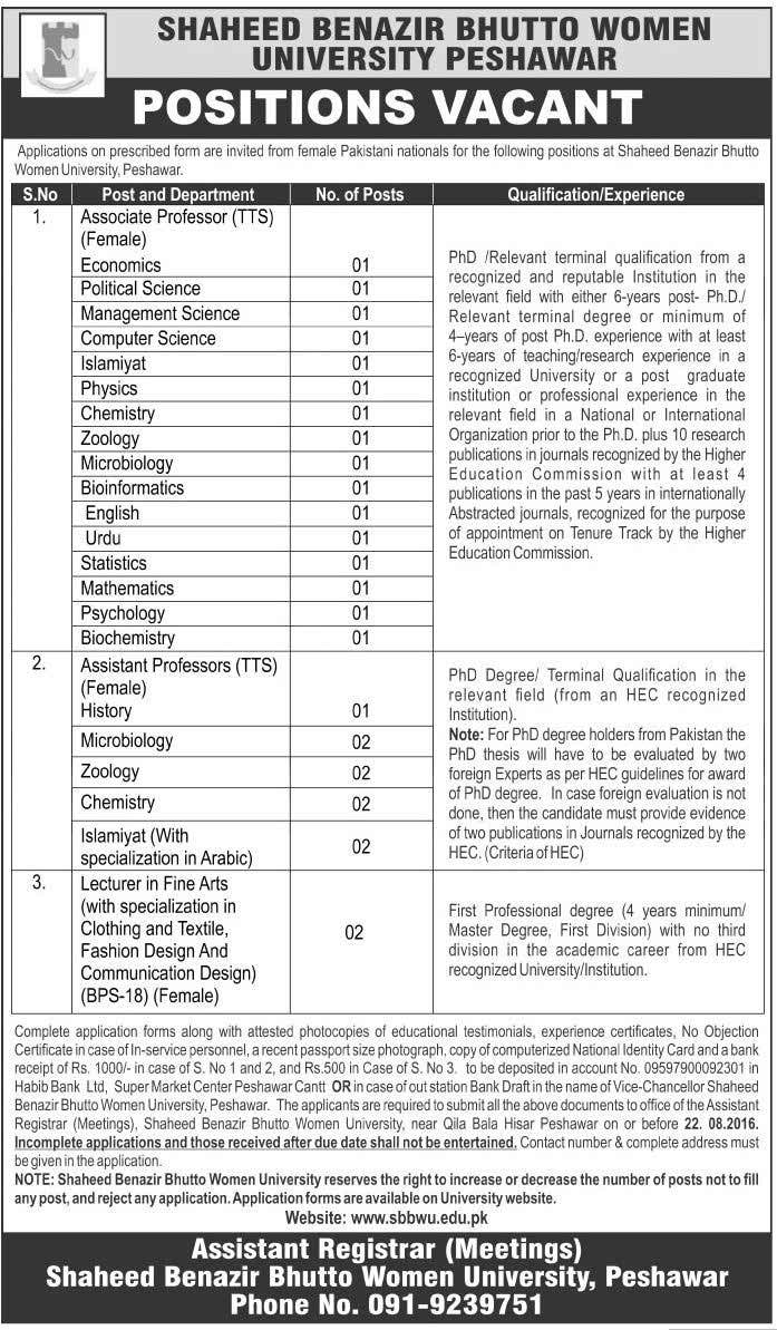 Shaheed Benazir Bhutto Women University Peshawar Jobs 2016