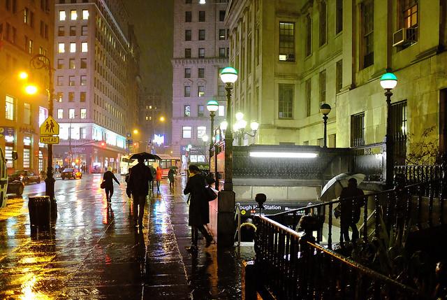 Brooklyn Street Scenes - Rainy Night in Brooklyn, Outside Borough Hall