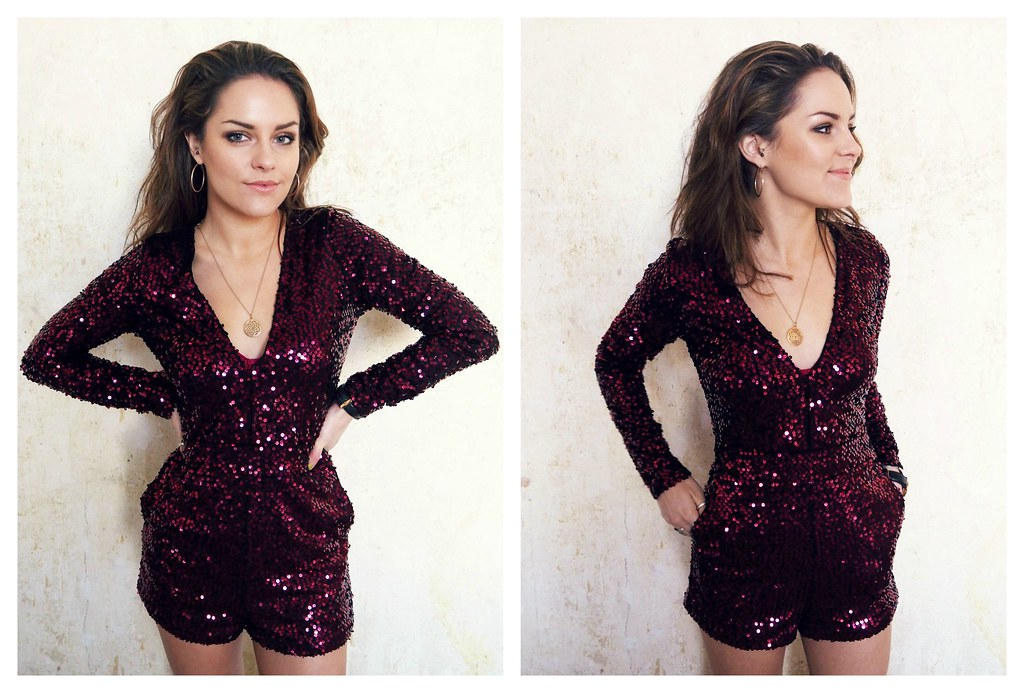 Motel Rocks purple sequin playsuit 5