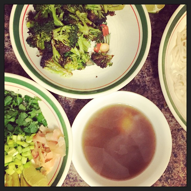 Pho for dinner.  With roast broccoli, cilantro, lime, pickled ginger, tofu and noodles. #whatveganseat