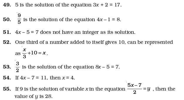 7 Important Questions for Maths Simple Equations – Maths Worksheets for Class 7