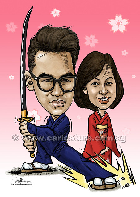 digital mother and son Japanese caricatures (watermarked)