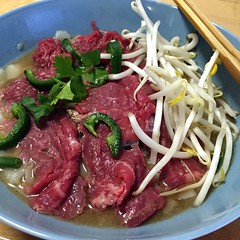 Homemade #pho. #flapsteak #jalapenos #beansprouts #cilantro #freshnoodles #staranise #coriander #organicBeefstock #delicious and pure! (January 24, 2015, San Francisco, CA)