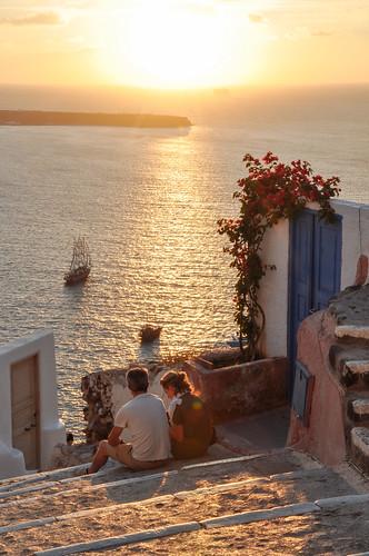 sunset sea summer vacation holiday water island volcano europe mediterranean ship aegean romance insel santorini caldera romantic summertime santorin oia cyclades thira kykladen