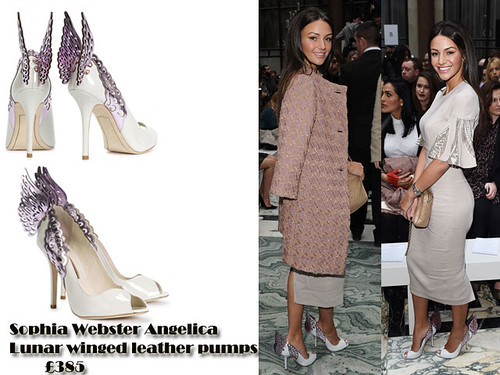 Michelle Keegan in Sophia Webster Angelica Lunar winged leather pumps