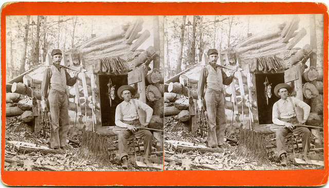 Iowa Stereographs Men Outside of a Smokehouse