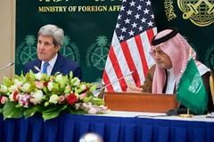 U.S. Secretary of State John Kerry addresses reporters during a news conference with Saudi Arabia Foreign Minister Saud al-Faisal on March 5, 2015, in Riyadh, Saudi Arabia, following a series of meetings with King Salman, Deputy Crown Prince Muhammed bin Nayef, and members of the regional Gulf Cooperation Council. [State Department photo/ Public Domain]