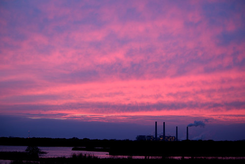 morning pink lake sunrise industrial factory texas houston swamp smithers