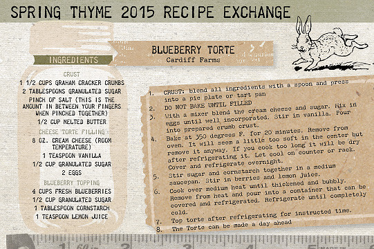 Blueberry Torte Recipe Card