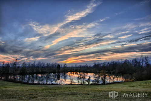 sunset lake reflection landscape pond owensboro veach