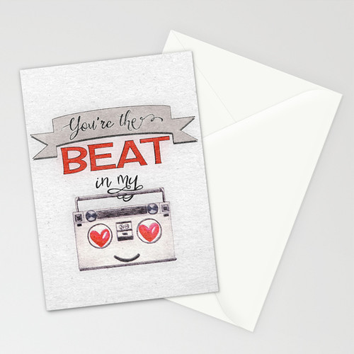 You're the Beat in My Boombox - stationery cards by Squibble Design on Society6