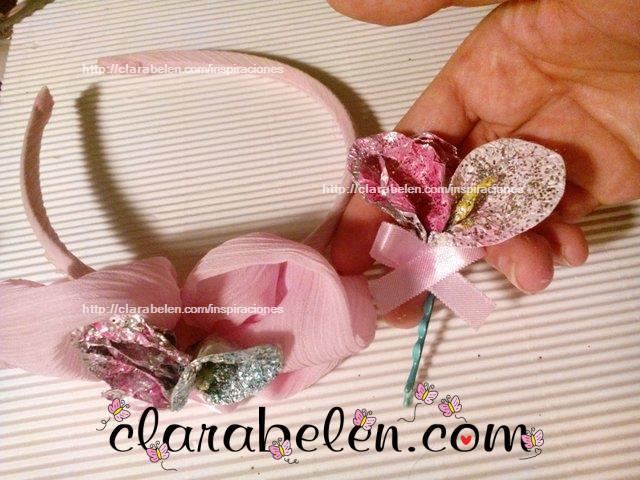Flor papel albal y rosa